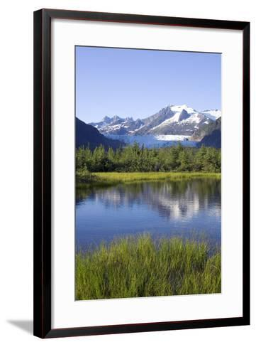 View of Mendenhall Glacier with Pond and Green Grass in Foreground Juneau Southeast Alaska Summer-Design Pics Inc-Framed Art Print
