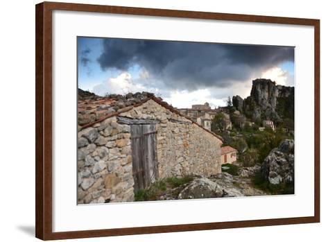 Stone Buildings Beneath Dark Clouds Near Verdon Gorge-Keith Ladzinski-Framed Art Print