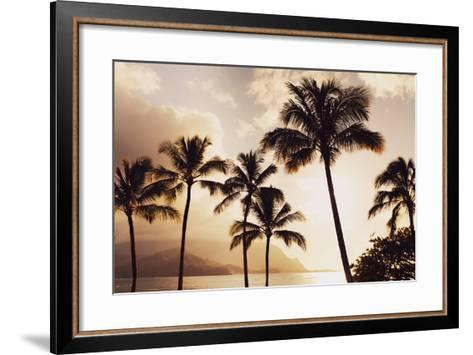 Hawaii, Kauai, Hanalei Bay, Palm Trees at Sunset-Design Pics Inc-Framed Art Print