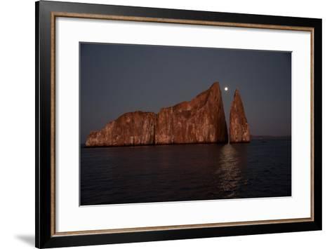 Moonrise Above Sleeping Lion in the Galapagos-Karen Kasmauski-Framed Art Print