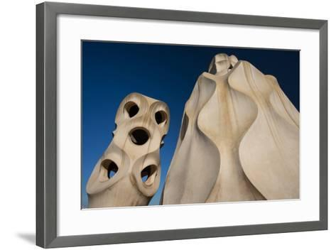 Chimneys as Abstract Sculptures by Gaudi on the Rooftop of Casa Mila, also Know as La Pedrera-Michael Melford-Framed Art Print