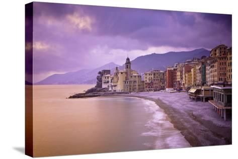 Buildings Along the Coast at Sunset; Camogli Liguria Italy-Design Pics Inc-Stretched Canvas Print