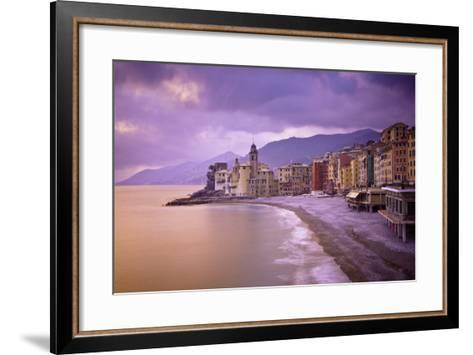 Buildings Along the Coast at Sunset; Camogli Liguria Italy-Design Pics Inc-Framed Art Print