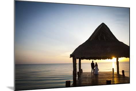 Newlyweds Watch the Sunset after their Beach Wedding on the West Coast of Cozumel Island-Michael Lewis-Mounted Photographic Print
