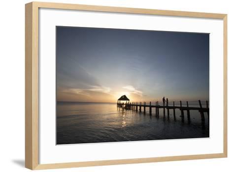 Newlyweds Walk Along a Pier on the West Coast of Cozumel Island-Michael and Jennifer Lewis-Framed Art Print