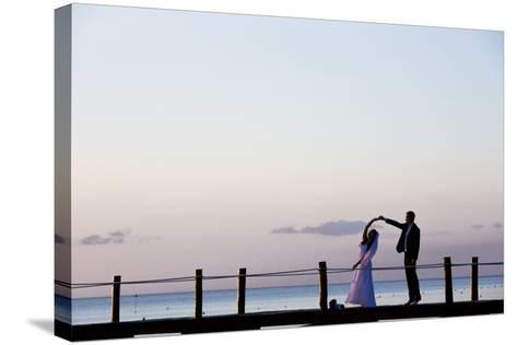Newlyweds Practice for their First Dance after their Beach Wedding on the Island of Cozumel-Michael Lewis-Stretched Canvas Print
