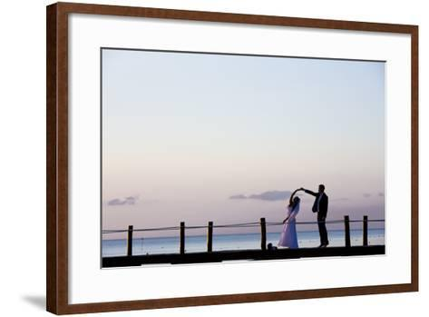 Newlyweds Practice for their First Dance after their Beach Wedding on the Island of Cozumel-Michael Lewis-Framed Art Print