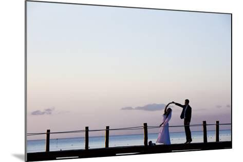 Newlyweds Practice for their First Dance after their Beach Wedding on the Island of Cozumel-Michael Lewis-Mounted Photographic Print