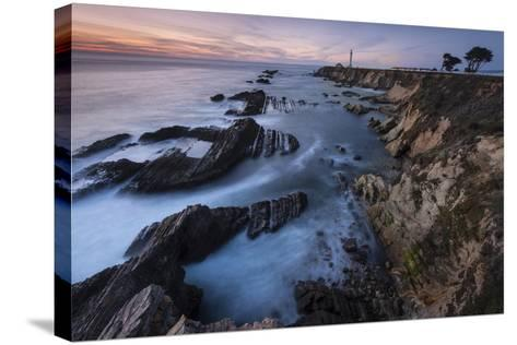 The Eroded Coastline of Stornetta Public Lands North of the Town of Point Arena-Michael Melford-Stretched Canvas Print