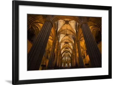 A View of the Columns and Vaulted Ceiling of the Catedral De Barcelona-Michael Melford-Framed Art Print