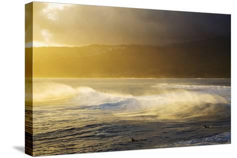 Crashing Wave and Ocean Spray Illuminated by Evening Light-Design Pics Inc-Stretched Canvas Print