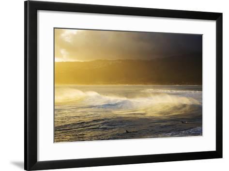 Crashing Wave and Ocean Spray Illuminated by Evening Light-Design Pics Inc-Framed Art Print