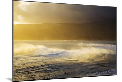 Crashing Wave and Ocean Spray Illuminated by Evening Light-Design Pics Inc-Mounted Photographic Print