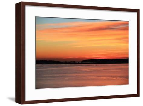The Sun Rises over the Calendar Islands in Maine's Casco Bay-Robbie George-Framed Art Print