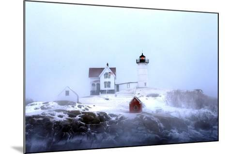 Maine's Nubble Lighthouse Shines on a Cold Winter's Day-Robbie George-Mounted Photographic Print