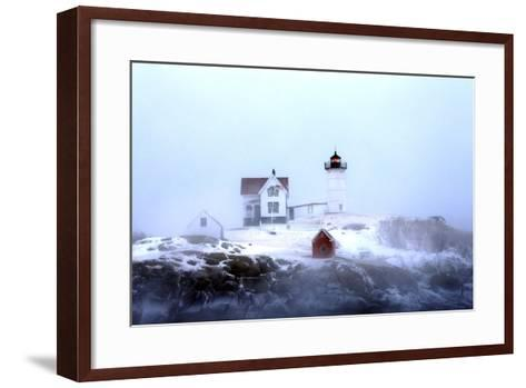 Maine's Nubble Lighthouse Shines on a Cold Winter's Day-Robbie George-Framed Art Print