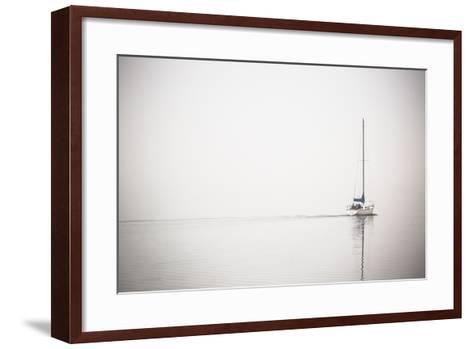 A Lone Sailboat Motors Through Morning Fog on the Occoquan River, Near the Potomac River-Kent Kobersteen-Framed Art Print