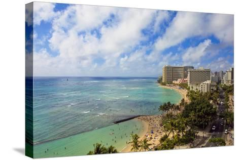 Hawaii, Oahu, Waikiki, View of the Pacific Ocean, Waikiki Beach, and Famous Hotels-Design Pics Inc-Stretched Canvas Print
