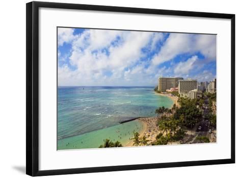 Hawaii, Oahu, Waikiki, View of the Pacific Ocean, Waikiki Beach, and Famous Hotels-Design Pics Inc-Framed Art Print