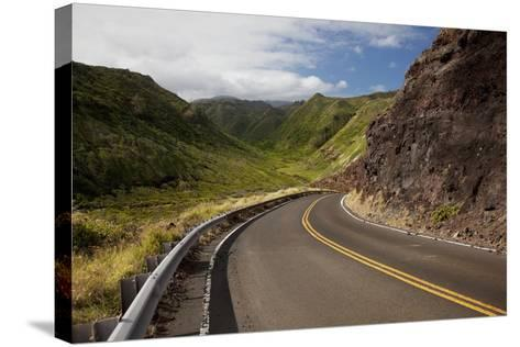 Hawaii, Maui, a Winding Road Through Maui's West Side with Lush Mountains-Design Pics Inc-Stretched Canvas Print
