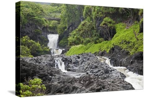 Hawaii, Maui, Hana, Seven Sacred Pools, a Large Stream and Waterfalls-Design Pics Inc-Stretched Canvas Print