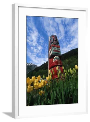 Totem Pole with Tulips Juneau Southeast Alaska Mountains Coast Summer Pr Tourist-Design Pics Inc-Framed Art Print