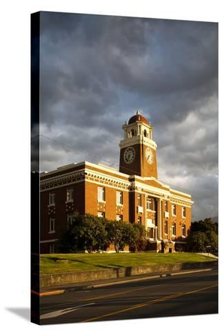 Sunlight Shines on a Courthouse in Port Angeles-Michael Hanson-Stretched Canvas Print