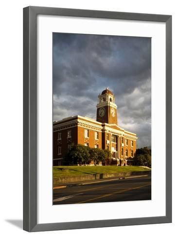 Sunlight Shines on a Courthouse in Port Angeles-Michael Hanson-Framed Art Print