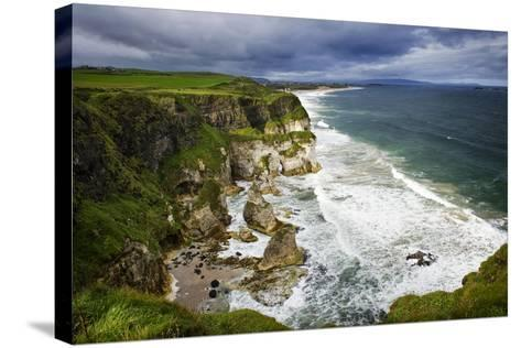 Churning Surf at White Rocks at Portrush on the North Coast of Northern Ireland-Chris Hill-Stretched Canvas Print