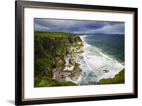 Churning Surf at White Rocks at Portrush on the North Coast of Northern Ireland-Chris Hill-Framed Art Print