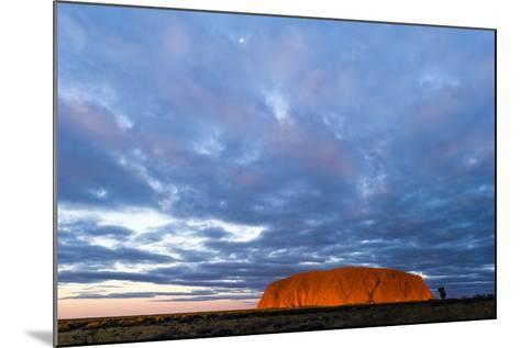 A Cloud Bank from an Approaching Storm Turns Magenta as it Shrouds Uluru and the Desert Plain-Jason Edwards-Mounted Photographic Print