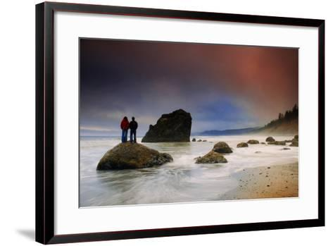 A Couple Stands on a Rock at Sunset on Ruby Beach, Olympic National Park, Washington-Keith Ladzinski-Framed Art Print