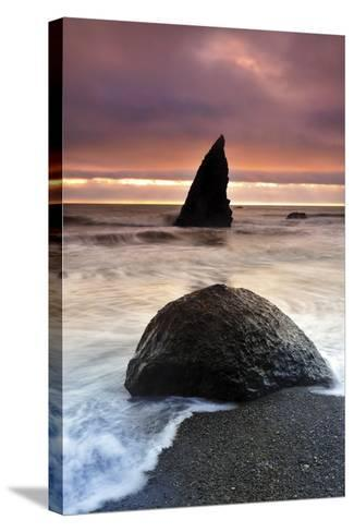 Sunset at Ruby Beach with Rock and Seastack, Olympic National Park, Washington-Keith Ladzinski-Stretched Canvas Print