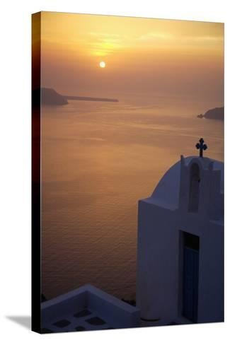 Whitewashed Chapel by Sea at Sunset-Design Pics Inc-Stretched Canvas Print