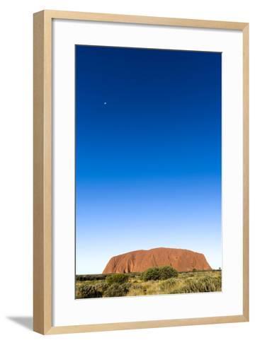 An Enormous Clear Blue Sky Rises Above the Desert Plain and Uluru-Jason Edwards-Framed Art Print
