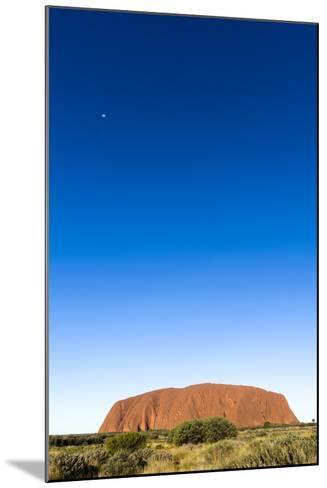 An Enormous Clear Blue Sky Rises Above the Desert Plain and Uluru-Jason Edwards-Mounted Photographic Print
