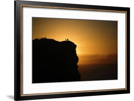 Sunset at the Cliffs of Moher on the West Coast of Ireland-Chris Hill-Framed Art Print