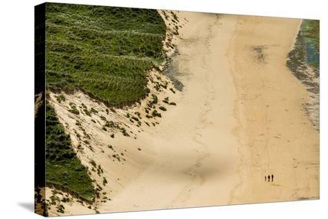 People Walking on Five Finger Strand in Donegal, Ireland-Chris Hill-Stretched Canvas Print