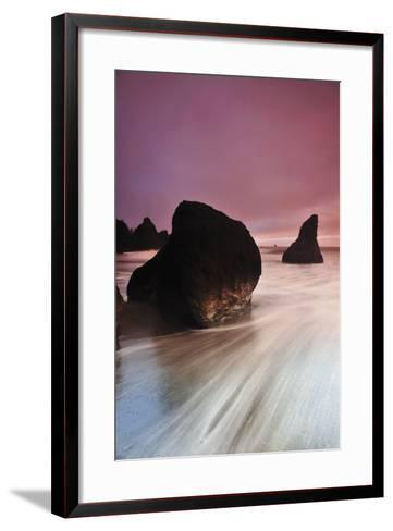 Sunset at Ruby Beach with Rock and Seastack, Olympic National Park, Washington-Keith Ladzinski-Framed Art Print