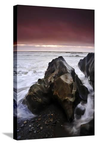 Sunset at Ruby Beach with Sea-Carved Rock, Olympic National Park, Washington-Keith Ladzinski-Stretched Canvas Print