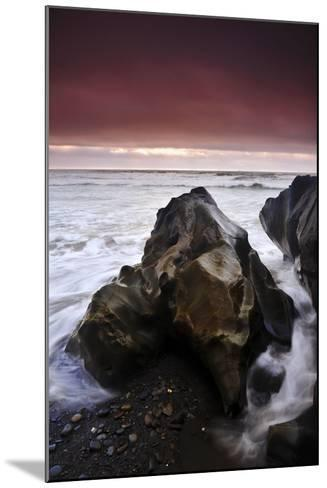 Sunset at Ruby Beach with Sea-Carved Rock, Olympic National Park, Washington-Keith Ladzinski-Mounted Photographic Print