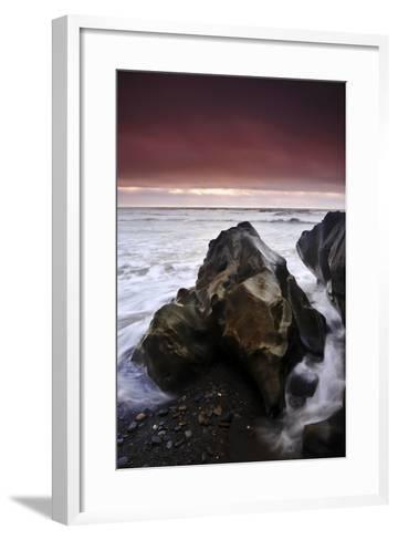 Sunset at Ruby Beach with Sea-Carved Rock, Olympic National Park, Washington-Keith Ladzinski-Framed Art Print