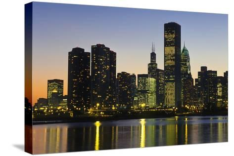 Chicago Skyline at Night-Design Pics Inc-Stretched Canvas Print