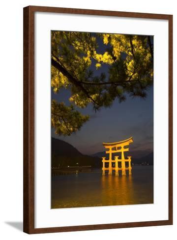 The 'Floating' Torii Gate of the Itsukushima Shinto Shrine, Illuminated at High Tide-Macduff Everton-Framed Art Print