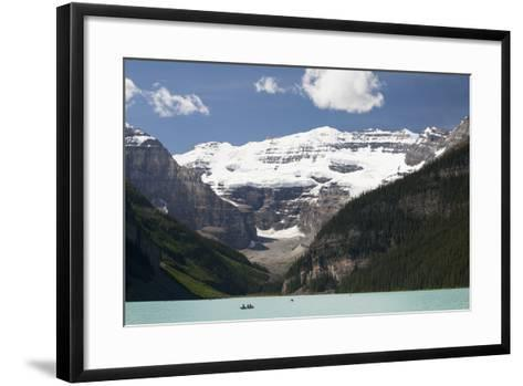 Mount Victoria and Lake Louise with Canoes-Design Pics Inc-Framed Art Print