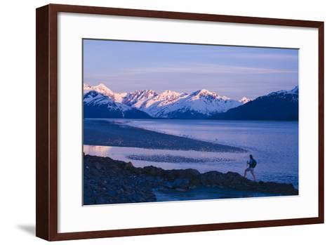 Hiker at Dusk on Ridge Overlooking Turnagain Arm with Sun Setting on Chugach Mountains-Design Pics Inc-Framed Art Print