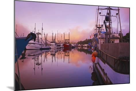 Sunrise Through the Morning Fog and Fishing Boats-Design Pics Inc-Mounted Photographic Print