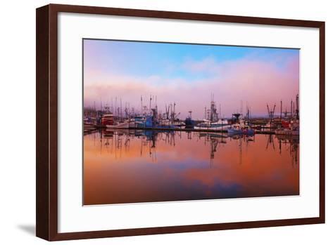 Sunrise Through the Morning Fog and Fishing Boats-Design Pics Inc-Framed Art Print