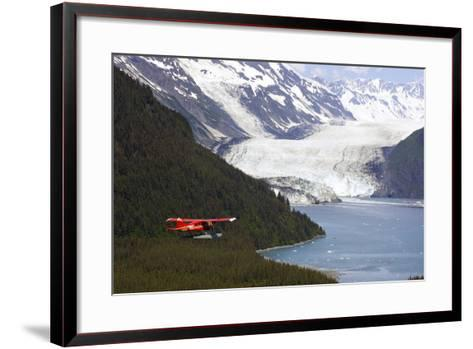 Dehavilland Beaver Floatplane Flying Towards Barry Glacier Harriman Fjord Chugach Nf and Mtns Pws-Design Pics Inc-Framed Art Print