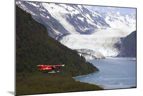 Dehavilland Beaver Floatplane Flying Towards Barry Glacier Harriman Fjord Chugach Nf and Mtns Pws-Design Pics Inc-Mounted Photographic Print